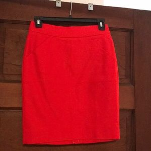NWT 00 Petite Red JCrew pencil skirt